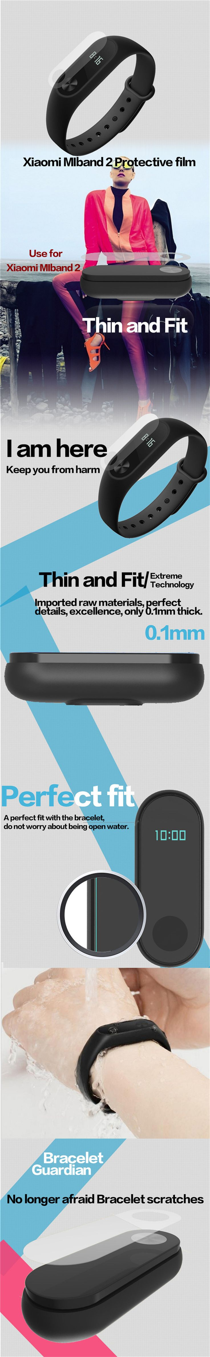 0.1mm HD Protective Film for Xiaomi Miband 2 - Transparent (2PCS) - Free Shipping - DealExtreme