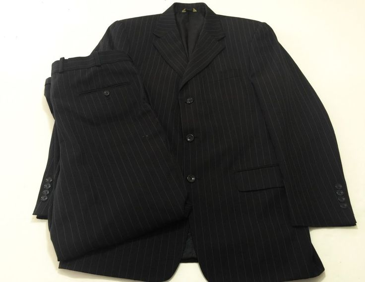 Luca Rossi 40R Men's Navy Blue Pinstripe Suit Wool Blend Super 100's 33x29 Pants #LUCAROSSI #ThreeButton