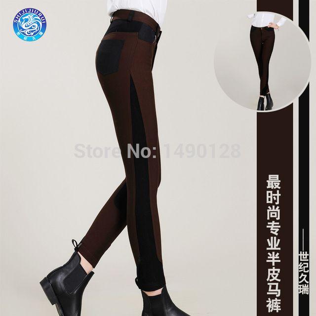 Couro moda calças de equitação metade profissional de homens e mulheres geral de equitação calças de equitação