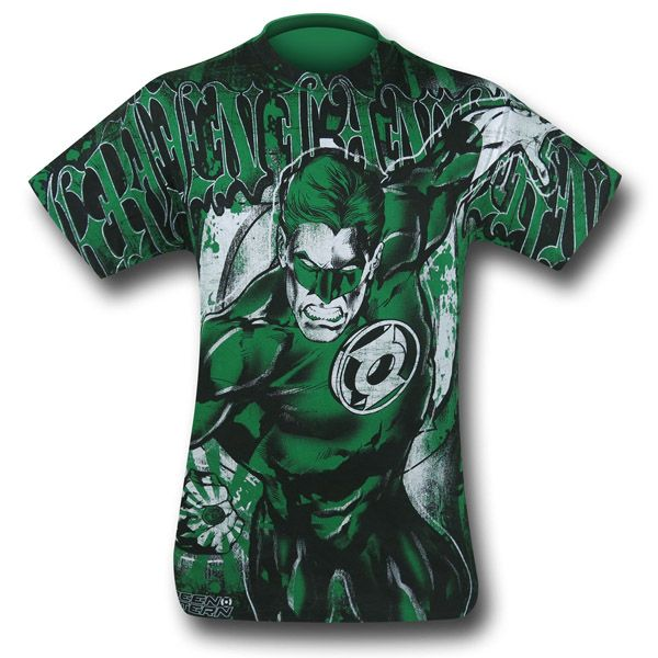 Green Lantern All Over Gothic Print T-Shirt $21.99