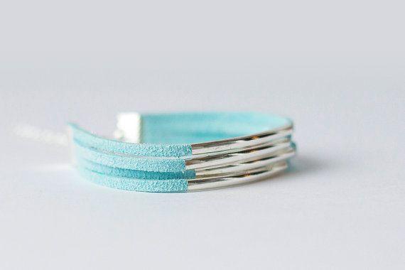 Light Blue Bracelet Turquoise Blue Bracelet by FunnyMoonBijoux
