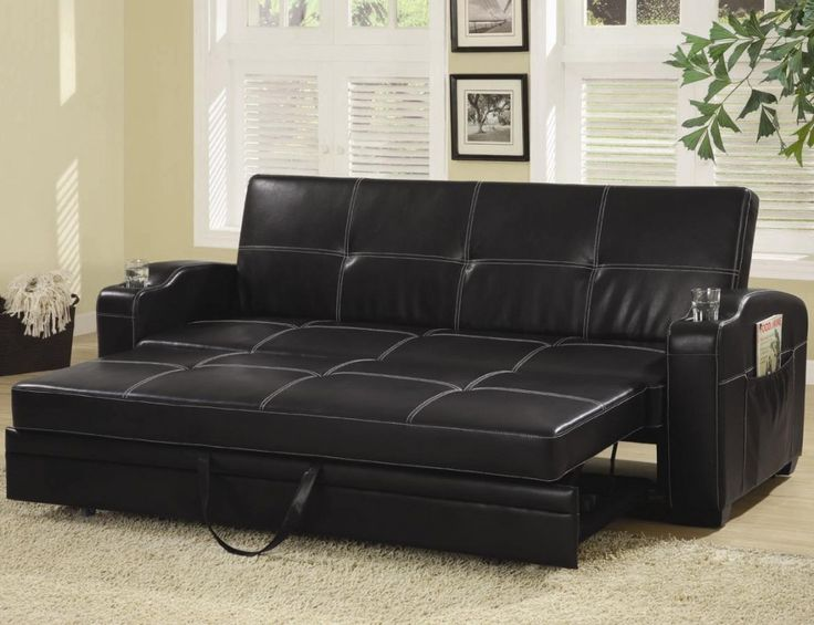 Ikea Black Leather Sofa