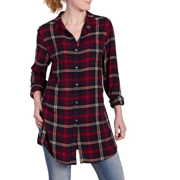 Jag Jeans Women's Long Sleeve Magnolia Tunic in Rayon Plaid ($25) ❤ liked on Polyvore featuring tops, tunics, purple long sleeve top, layered tops, rayon tops, button up top and purple top