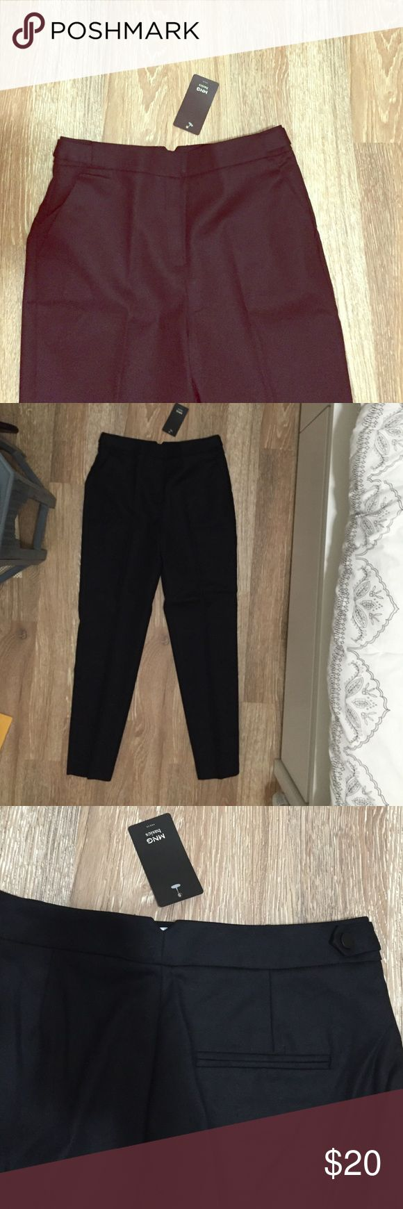 NWT Mango Trousers These black Mango trousers are perfect for day-to-night work outfits. They have side tabs with black buttons and front zip fly. These tailored pants would be perfect with pumps or strappy sandals. Mango Pants Trousers