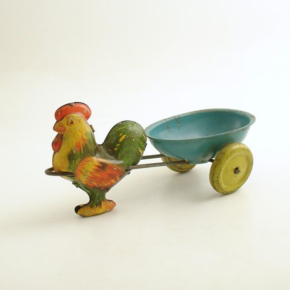 Vintage Easter Toy Wyandotte Rooster Egg Cart Tin by efinegifts, $44.95