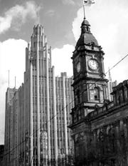Manchester Unity building in the background with Melbourne Town Hall at the forefront
