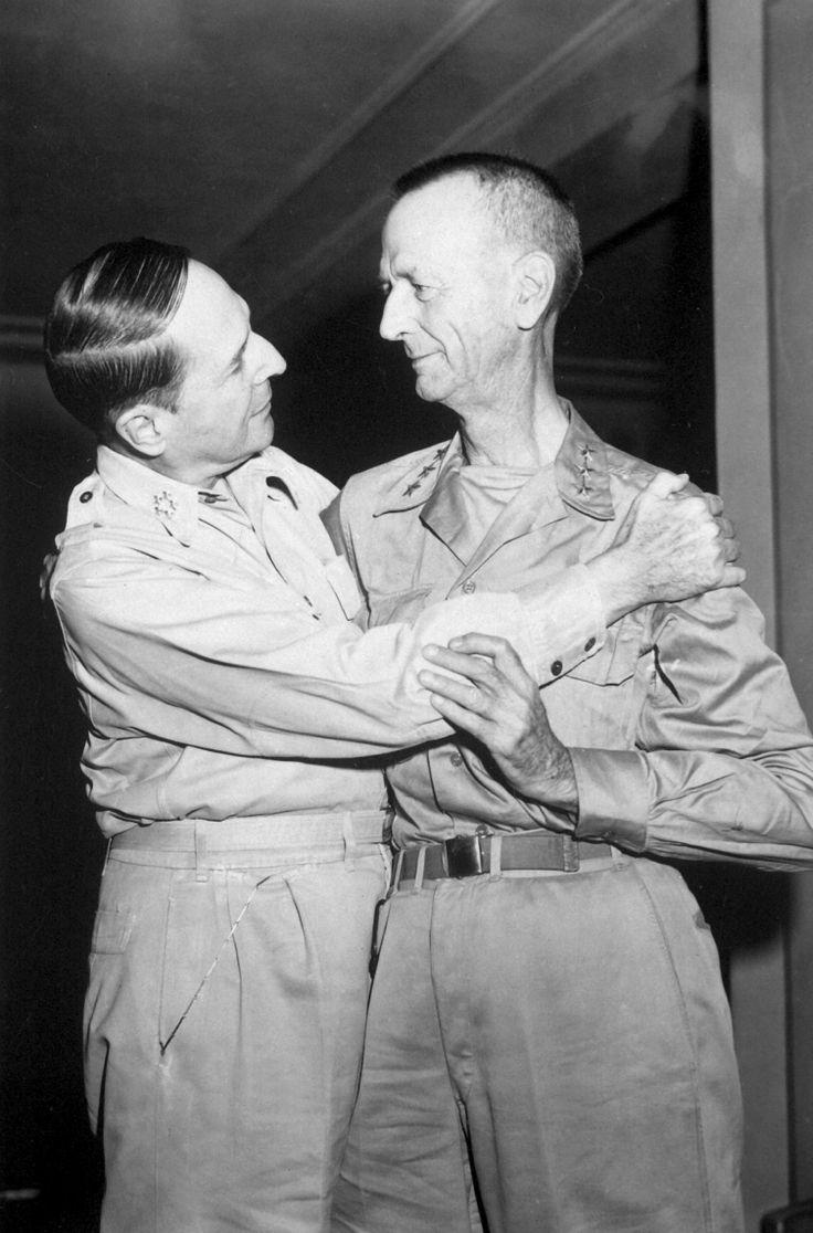 MacArthur embracing Wainwright, the New Grand Hotel, Yokohama, Japan, 31 Aug 1945