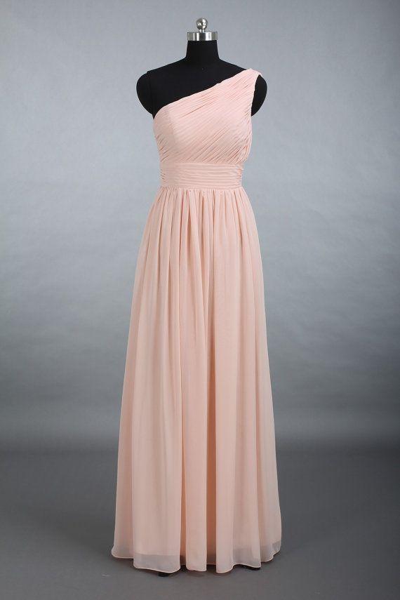 Pearl Pink One Shoulder Bridesmaid Dress A-Line par harsuccthing
