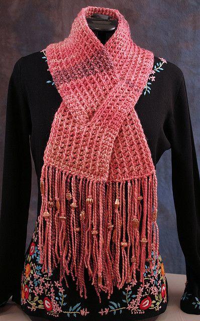 Trendy Crochet Scarf Patterns | Quick No-Purl Keyhole Scarf « FireFlower Knits