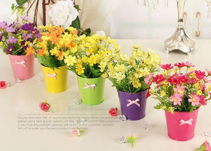 Petite marguerite artificielle usine de soie fleur avec Pot de mariage accueil cadeau de décoration de noël 15 x 16 CM dans Fleurs décoratives et couronnes de Maison & Jardin sur AliExpress.com   Alibaba Group