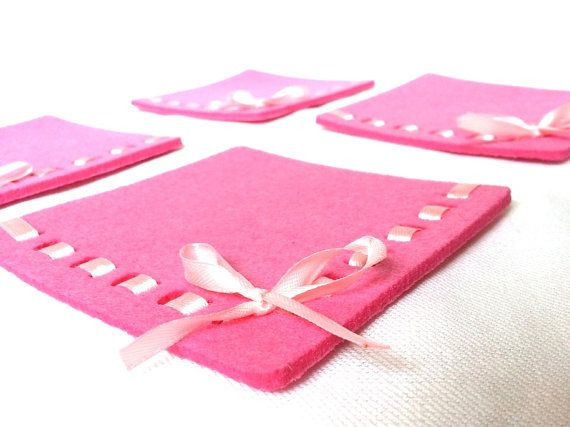 pink coasters   felt coasters   set of 4 by TheRainbowCrafts, €10.00