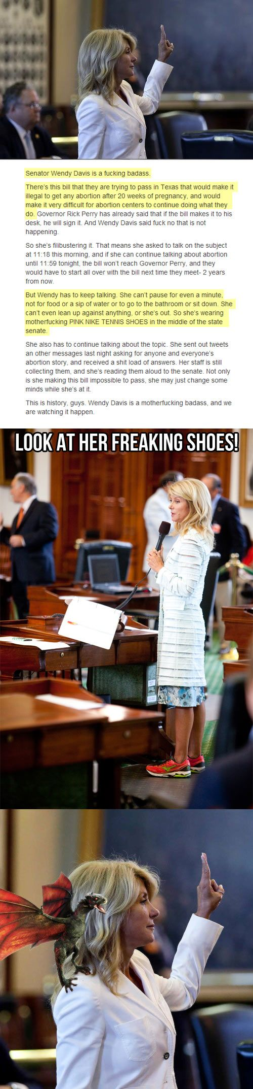 made the popular section again, wendy davis!!!! And of course the trolls are out in force unfortunately