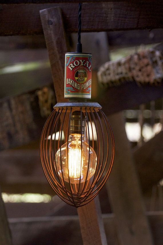 Small Vintage Industrial Whisk Pendant Light—Early 1960's Antique Hobart Whisk—Rejuvinated Scrap Metal Light with Antique Baking Powder Tin