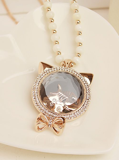 Free shipping  high quality fashion necklace kitten crystal long design necklace accessories $22.79