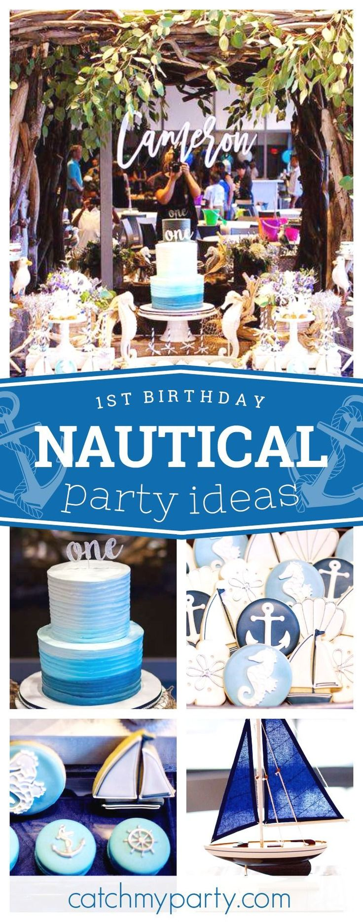 Swoon over this gorgeous Rustic Nautical 1st Birthday Party! The sugar coated cookies are awesome!! See more party ideas and share yours at CatchMyParty.com #catchmyparty #nautical #rustic #1stbirthday #boybirthdayparty