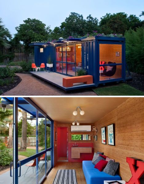 Airy, modern and colorful, this San Antonio shipping container house by Poteet Architects was constructed for use as a summer house, entertainment and guest quarters in an artist community. Mounted on recycled telephone poles.