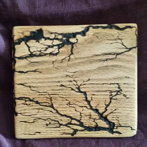 """Touched by Lightning 7"""" x 7""""  Oak Wall Hanging Fractal Wood Burning with Electricity Lichtenberg Figures"""