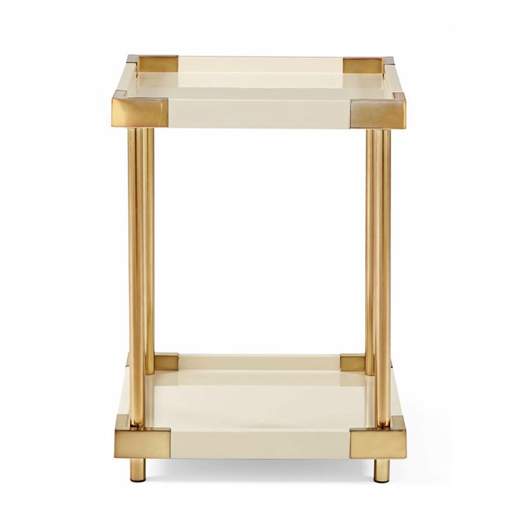 Bernhardt. Brielle End Table, ivory lacquer and patinated brass
