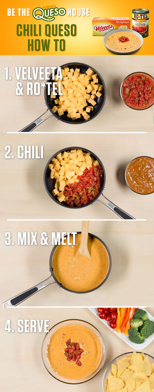 Delicious dip alert! Combine the one-two kick of RO*TEL's diced tomatoes and spicy green chilies with the melty amazingness of VELVEETA, and bring it all together with some tasty chili. Find more Famous Queso recipes at www.quesoforall.com