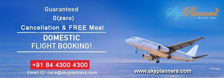 Booking for domestic air tickets online from Sky Planners with Zero Cancellation and Free Meals.We are expertised in Flight Tickets Booking, Hotels Booking and travel packages booking in  all over the world. Book Now - http://www.skyplanners.com/