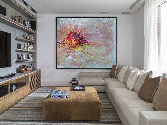 Minimalistické abstraktní malby, na plátně, tyrkysová malba, Pink a umění zlato, Modrý domova, Minimal kancelář umění zdi, velký obraz