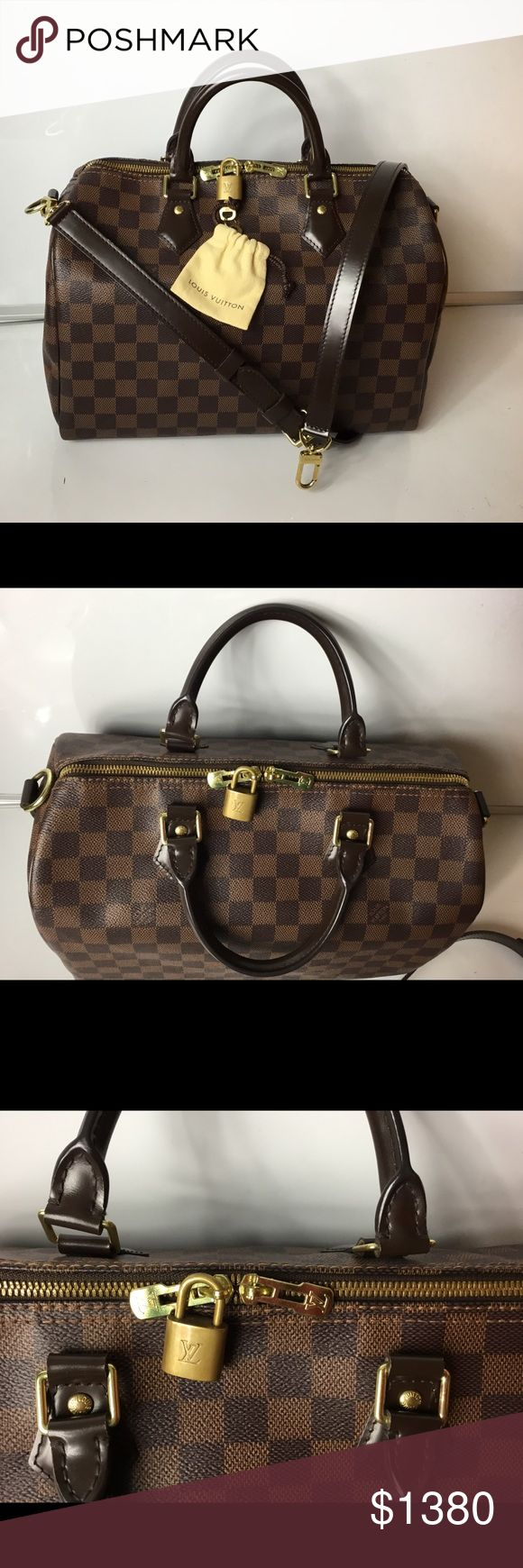 100% Authentic Louis Vuitton Speedy 30 Bandouliere 100% Authentic Louis Vuitton Damier Ebene Speedy 30 Bandouliere with Receipt, Padlock, 2 Key and Dust Bag Included with Dust Bag, PadLock, Key and Box. Pre-Owned Bag in excellent used condition No rip, no tears on the canvas. Very clean inside. No bad odor/ No smell. Leather and Handle have marks, and sign of usage. Hardware has surface scratches. DATE CODE SD1115 ( 11 weeks of 2015 ) MADE IN FRANCE  Please check all the pictures. -In order…