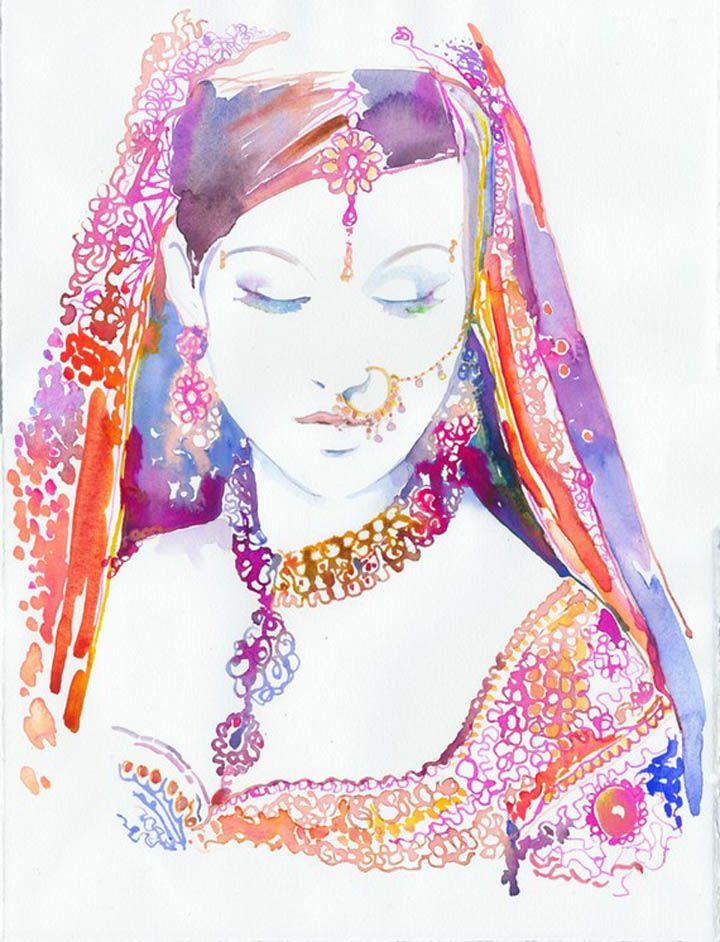 Watercolor Indian Bride