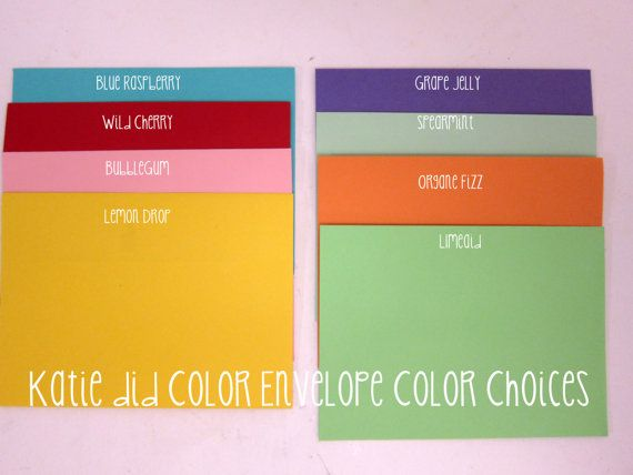 25 pack of COLORED Envelopes A7 Square Flap 25 pc Set of colored envelopes