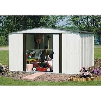 Arrow Newburgh Galvanized Steel Shed 10' x 8' with 60 Wall Height With doors / NW108-A (Off-White (Beige))