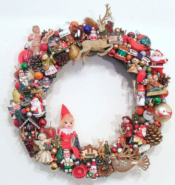 Christmas Wreath with Vintage Ornaments  Kitsch by SweetLenasRetro, $225.00