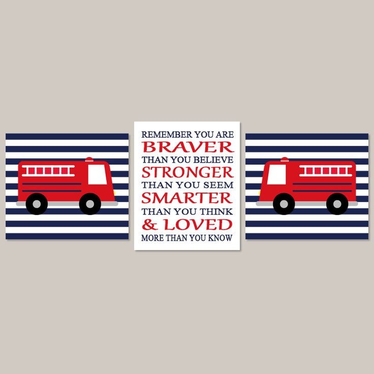 FIRE TRUCK Wall Art, Baby Boy Nursery Art, You Are Braver, Fire Engine, Fireman Fire Truck Theme Set of 3 Prints Or Canvas Navy Red Nursery by LovelyFaceDesigns on Etsy https://www.etsy.com/listing/154200252/fire-truck-wall-art-baby-boy-nursery-art