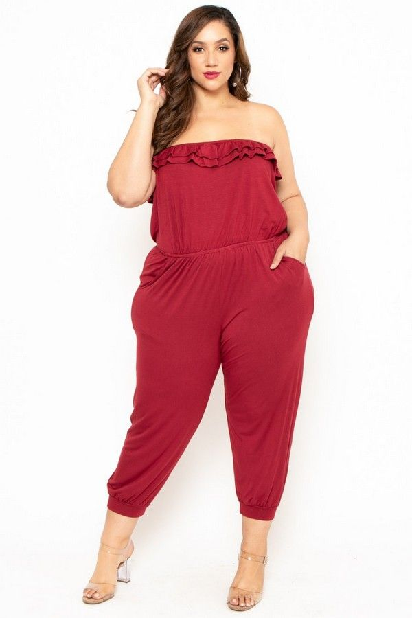 Plus Size Strapless Ruffle Capri Jumpsuit Burgundy 3600 Ootd