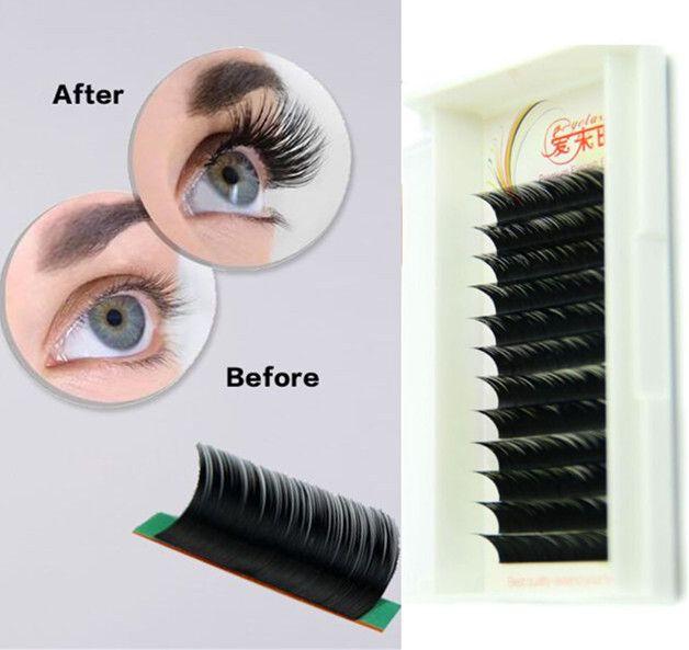 c473e98b4c4 Individual Eyelash Extensions B/C/D Curl Natural Color 0.05mm to 0.25mm  Thickness 8mm 9mm 10mm 11mm 12mm 13mm 14mm 15mm False Eye Lash Long…
