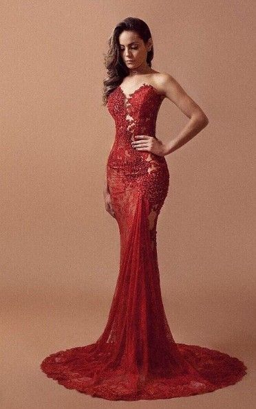 38303e797577 Sexy Mermaid Red Lace Evening Dress · lass · Online Store Powered by  Storenvy