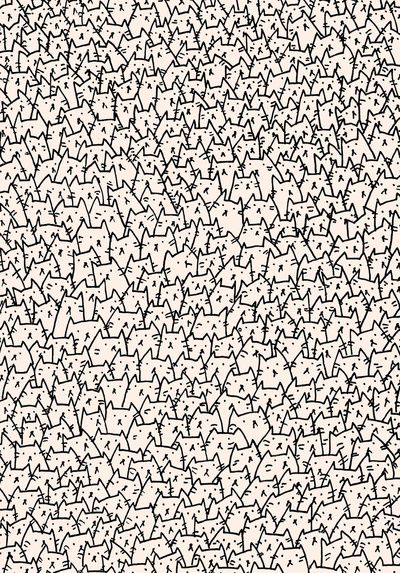 A Lot of Cats Art Print   Omg I need this as a shirt! And a blanket! And an effi shirt! And pjs For noble! And a pillow Annnnd I love cats. Agh!