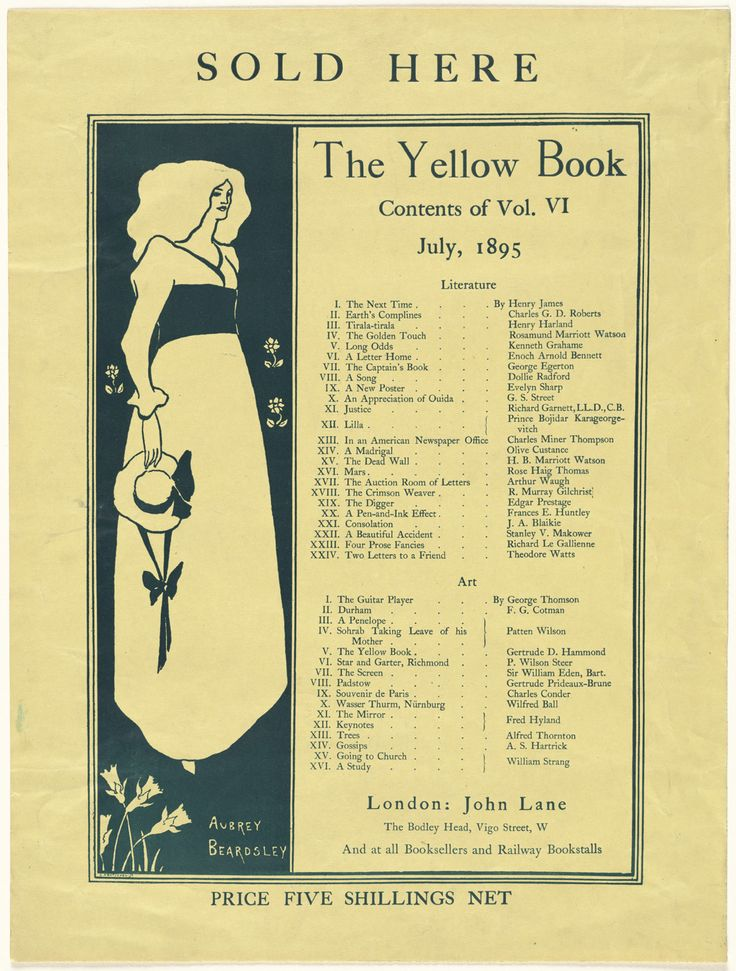 Aubrey Vincent Beardsley - Sold here  The Yellow Book  Contents of Vol    Aubrey Beardsley The Yellow Book