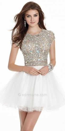 Beaded Short Sleeve Tulle Prom Dress by Terani on shopstyle.com