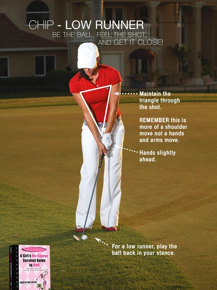 A low runner is a chip that gets on the green quickly and rolls to the hole. A PW, 9-, 8-, or even 7-irons are all great choices.