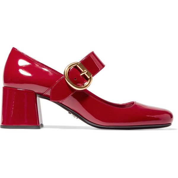 Prada Patent-leather Mary Jane pumps (17.610 CZK) ❤ liked on Polyvore featuring shoes, pumps, scarpe, prada, red, red mid heel pumps, mary-jane shoes, prada shoes, strappy pumps and t-strap mary janes