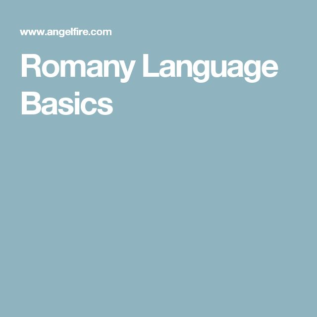 Romany Language Basics