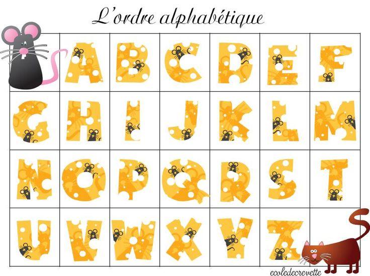 jeu pour apprendre l'ordre des lettres de l'alphabet