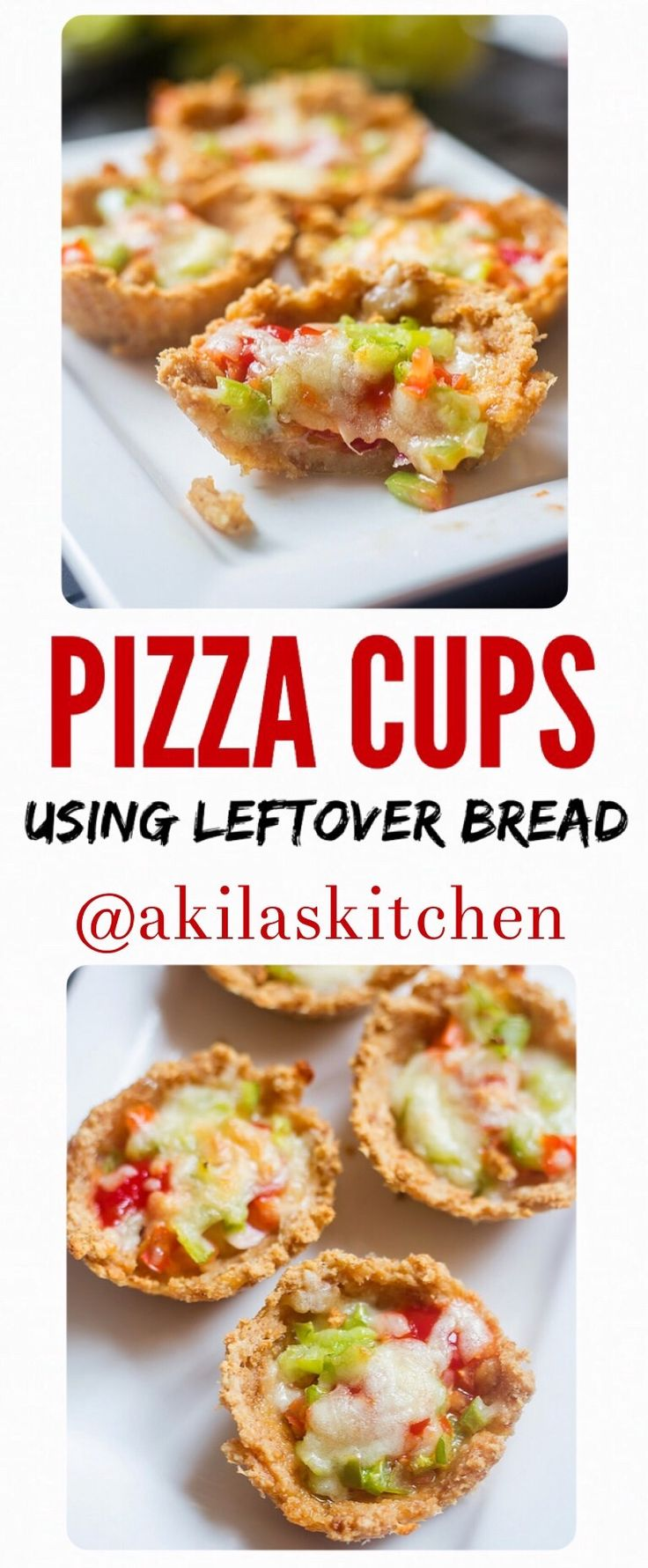 Pizza cups using left over bread