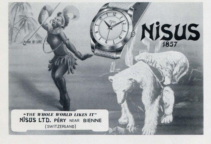 Vintage 1951 Nisus Watch Company Switzerland Original Swiss Magazine Ad Suisse | eBay