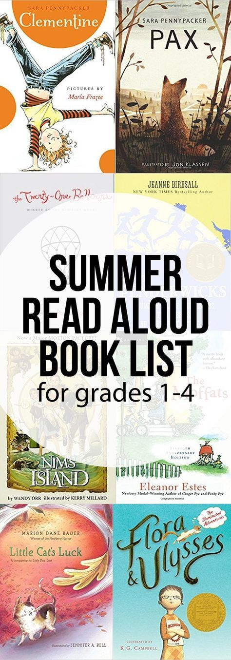 Summer Reading Book List for Grades 1-4 - great read aloud novels for elementary