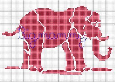 Free Filet Crochet Elephant Pattern : Pin by Ela on Cross stitch - elephants Pinterest