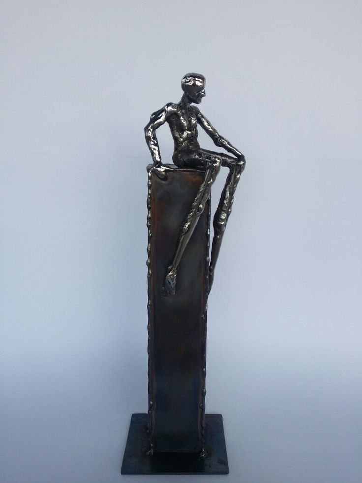 Sculpture available for sale, Name : At the edge of the world, Tehnique : Welded stainless steel , Year : 2016 Size : 34/12/8 cm.