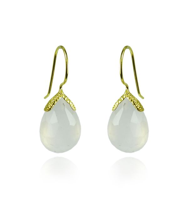 White Chalcedony Vermeil Earrings