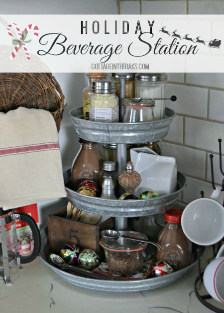 Holiday Beverage Station …… all the makings of your favorite warm beverages in one place! #diy