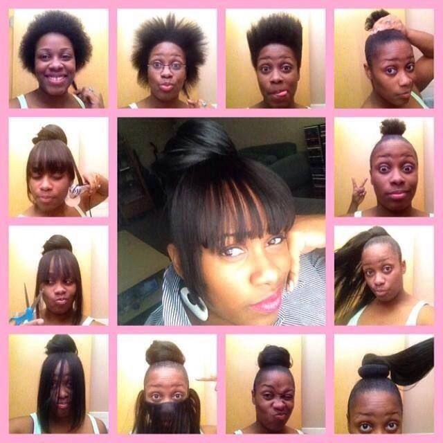Faux bang protective hairstyle