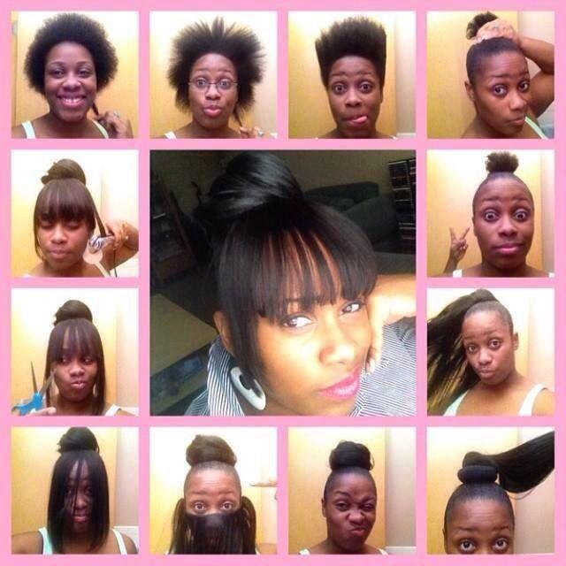 Faux bang protective hairstyle